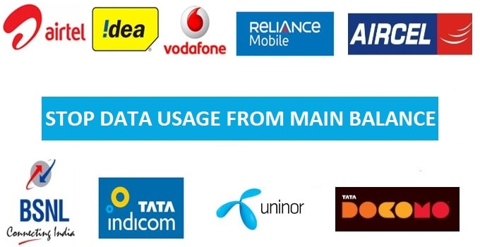 Stop Data Usage From Main Balance